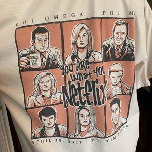 Comfort Colors Tops - Comfort Colors Omega Netflix Sorority Shirt L EUC